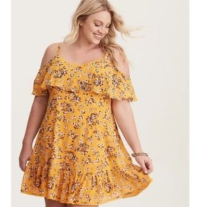 Torrid Floral Chiffon Cold Shoulder Dress 1X